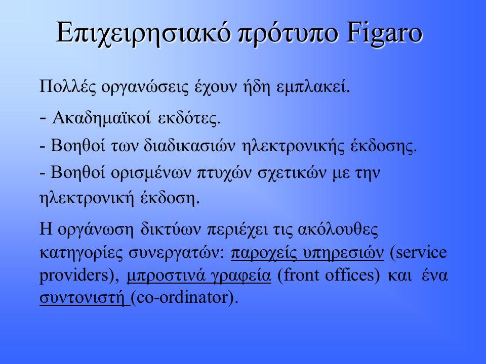 Επιχειρησιακό πρότυπο Figaro Πολλές οργανώσεις έχουν ήδη εμπλακεί. - Ακαδημαϊκοί εκδότες. - Βοηθοί των διαδικασιών ηλεκτρονικής έκδοσης. - Βοηθοί ορισ