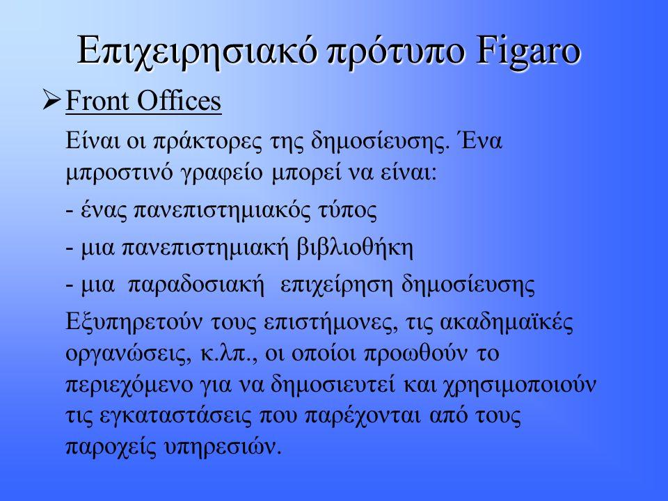 Επιχειρησιακό πρότυπο Figaro  Front Offices Eίναι οι πράκτορες της δημοσίευσης. Ένα μπροστινό γραφείο μπορεί να είναι: - ένας πανεπιστημιακός τύπος -