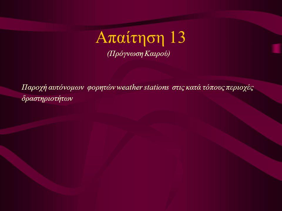 Απαίτηση 13 (Πρόγνωση Καιρού) Παροχή αυτόνομων φορητών weather stations στις κατά τόπους περιοχές δραστηριοτήτων