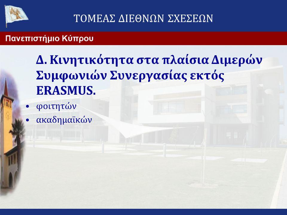 ΤΟΜΕΑΣ ΔΙΕΘΝΩΝ ΣΧΕΣΕΩΝ Δ. Κινητικότητα στα πλαίσια Διμερών Συμφωνιών Συνεργασίας εκτός ERASMUS. •φοιτητών •ακαδημαϊκών