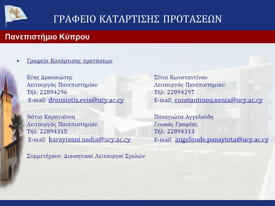 ΓΡΑΦΕΙΟ ΚΑΤΑΡΤΙΣΗΣ ΠΡΟΤΑΣΕΩΝ •Γραφείο Κατάρτισης προτάσεων Εύης Δρουσιώτης Ξένια Κωνσταντίνου Λειτουργός Πανεπιστημίου Τήλ: 22894296 Τήλ: 22894297 E-m