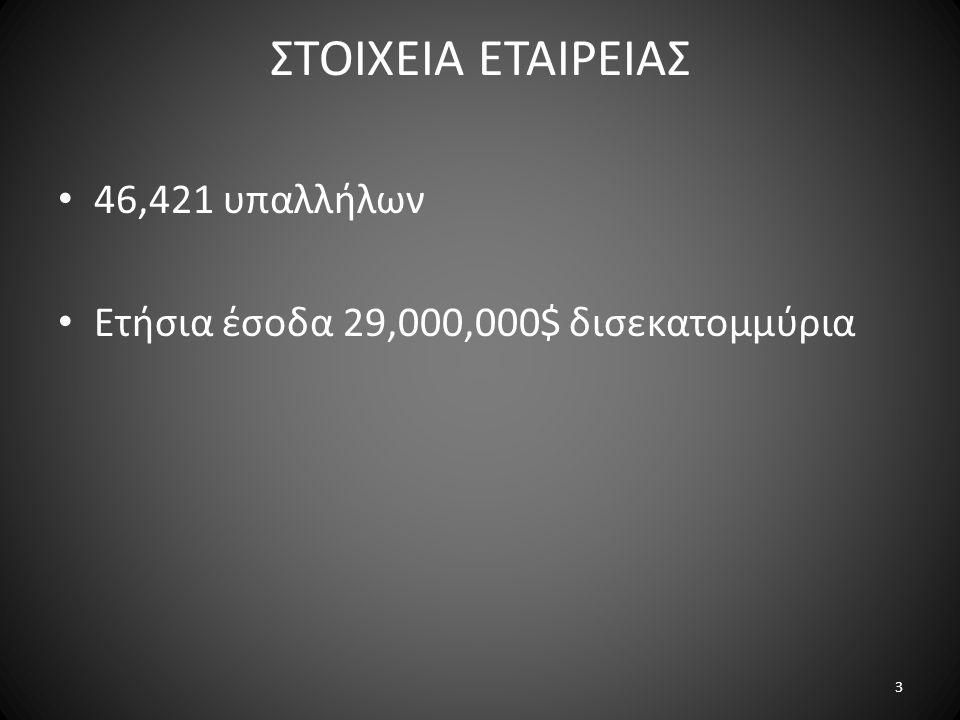 ΣΤΟΙΧΕΙΑ ΕΤΑΙΡΕΙΑΣ • 46,421 υπαλλήλων • Ετήσια έσοδα 29,000,000$ δισεκατομμύρια 3