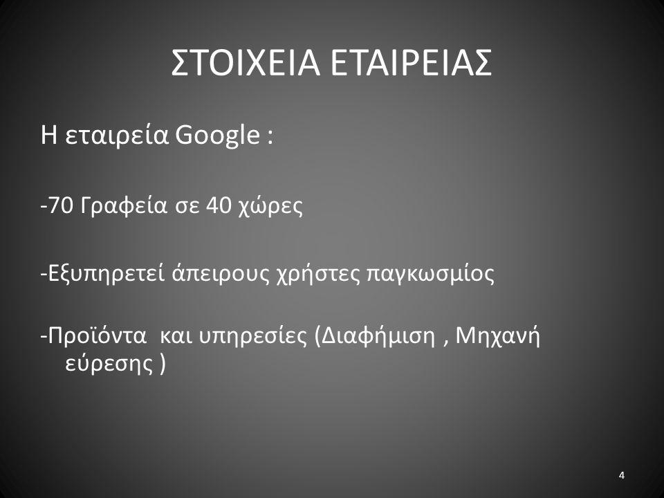 ΣΤΟΙΧΕΙΑ ΕΤΑΙΡΕΙΑΣ Η εταιρεία Google : -70 Γραφεία σε 40 χώρες -Εξυπηρετεί άπειρους χρήστες παγκωσμίος -Προϊόντα και υπηρεσίες (Διαφήμιση, Μηχανή εύρε