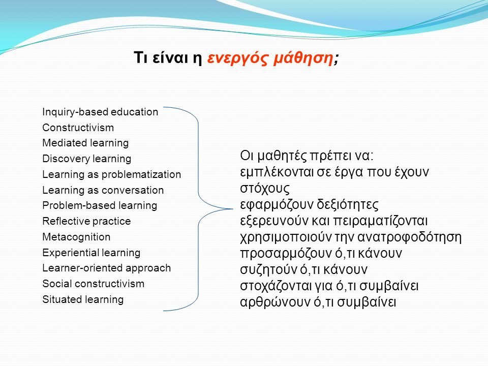 Inquiry-based education Constructivism Mediated learning Discovery learning Learning as problematization Learning as conversation Problem-based learning Reflective practice Metacognition Experiential learning Learner-oriented approach Social constructivism Situated learning Τι είναι η ενεργός μάθηση; Οι μαθητές πρέπει να: εμπλέκονται σε έργα που έχουν στόχους εφαρμόζουν δεξιότητες εξερευνούν και πειραματίζονται χρησιμοποιούν την ανατροφοδότηση προσαρμόζουν ό,τι κάνουν συζητούν ό,τι κάνουν στοχάζονται για ό,τι συμβαίνει αρθρώνουν ό,τι συμβαίνει