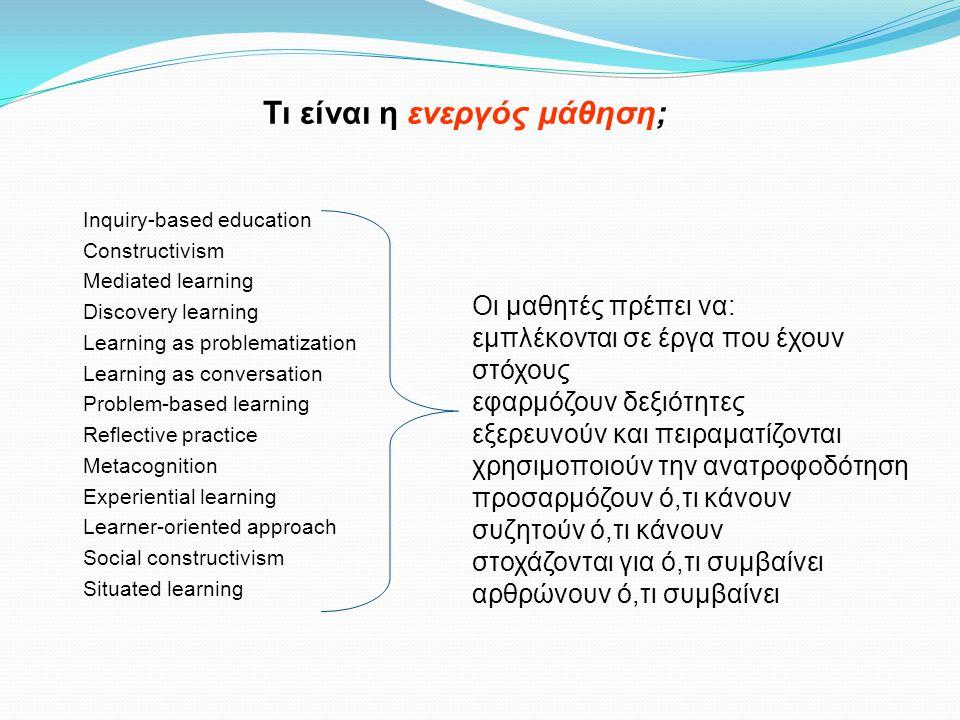 Τι πρέπει να κάνει ο μαθητής για να μάθει το X; ακούει διαβάζει μιμείται Απομνημονεύει προβάρει θυμάται Αποφασίζει τις πράξεις που απαιτούνται για την επίτευξη ενός δεδομένου στόχου Προβληματίζεται γύρω από την ανατροφοδότηση των πράξεών του Προσαρμόζει τις πράξεις του με βάση τον προβληματισμό του Πειραματίζεται προκειμένου να επιτύχει ένα στόχο Συζητά τι κάνει Αρθρώνει αυτά που καταλαβαίνει για ό, τι συμβαίνει Σημαντική, όμως όχι ενεργός μάθηση Οι δραστηριότητες του παραδοσιακού μαθητή Οι δραστηριότητες του ενεργού μαθητή – Ο ολοκληρωμένος κύκλος μάθησης