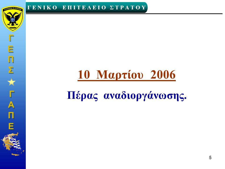 Γ Γ Γ Ε Ν Ι Κ Ο Ε Π Ι Τ Ε Λ Ε Ι Ο Σ Τ Ρ Α Τ Ο Υ Α Α Π Π Ε Ε Γ Γ Ε Ε Σ Σ Π Π 5 10 Μαρτίου 2006 Πέρας αναδιοργάνωσης.
