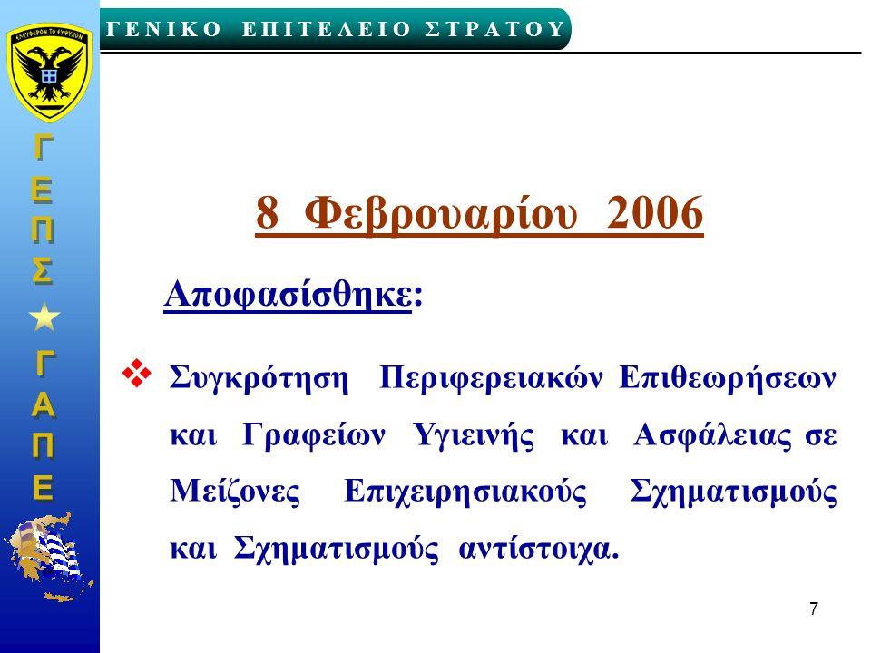Γ Γ Γ Ε Ν Ι Κ Ο Ε Π Ι Τ Ε Λ Ε Ι Ο Σ Τ Ρ Α Τ Ο Υ Α Α Π Π Ε Ε Γ Γ Ε Ε Σ Σ Π Π 7 8 Φεβρουαρίου 2006 Αποφασίσθηκε:  Συγκρότηση Περιφερειακών Επιθεωρήσεων