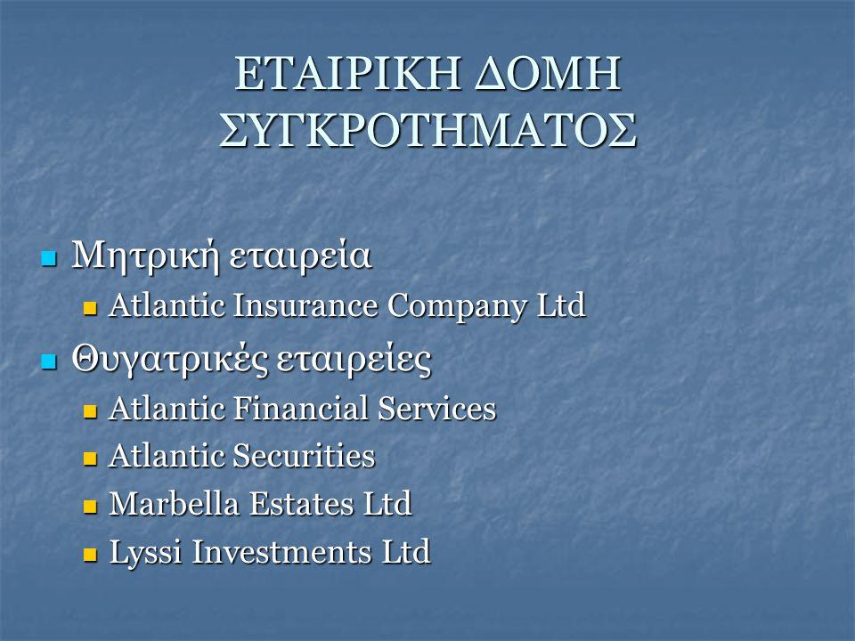  Μητρική εταιρεία  Atlantic Insurance Company Ltd  Θυγατρικές εταιρείες  Atlantic Financial Services  Atlantic Securities  Marbella Estates Ltd  Lyssi Investments Ltd ΕΤΑΙΡΙΚΗ ΔΟΜΗ ΣΥΓΚΡΟΤΗΜΑΤΟΣ