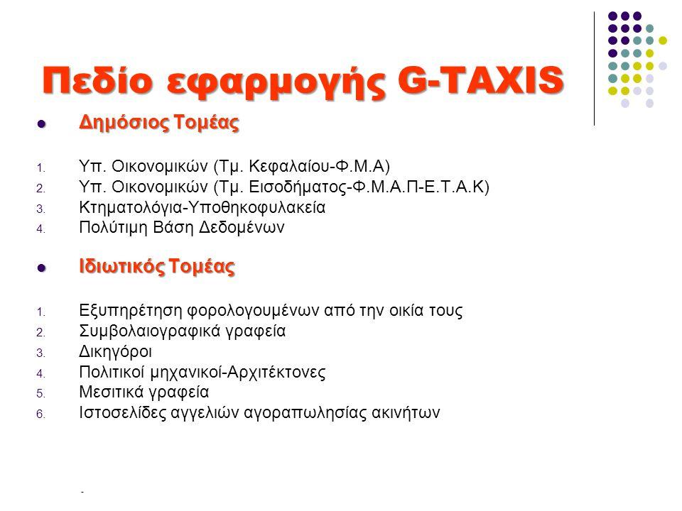 Πεδίο εφαρμογής G-TAXIS  Δημόσιος Τομέας 1. Υπ. Οικονομικών (Τμ. Κεφαλαίου-Φ.Μ.Α) 2. Υπ. Οικονομικών (Τμ. Εισοδήματος-Φ.Μ.Α.Π-Ε.Τ.Α.Κ) 3. Κτηματολόγι