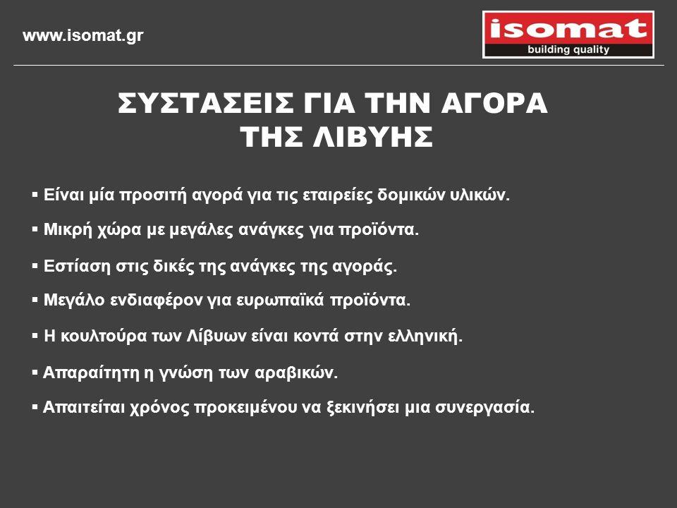 www.isomat.gr  Μικρή χώρα με μεγάλες ανάγκες για προϊόντα.  Εστίαση στις δικές της ανάγκες της αγοράς. ΣΥΣΤΑΣΕΙΣ ΓΙΑ ΤΗΝ ΑΓΟΡΑ ΤΗΣ ΛΙΒΥΗΣ  Είναι μί