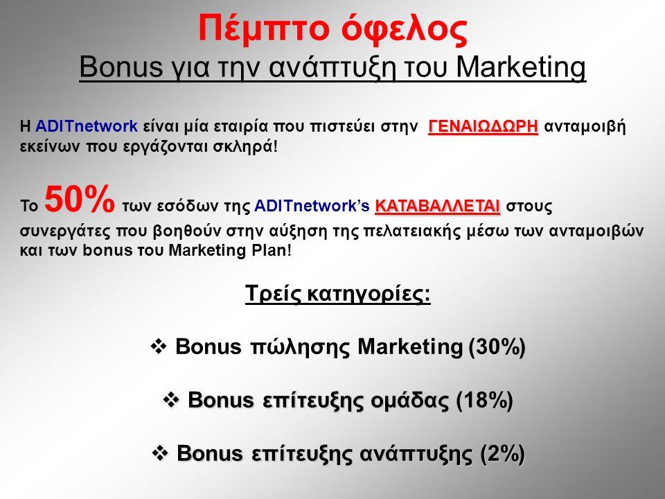 Πέμπτο όφελος Bonus για την ανάπτυξη του Marketing ΓΕΝΑΙΩΔΩΡΗ Η ADITnetwork είναι μία εταιρία που πιστεύει στην ΓΕΝΑΙΩΔΩΡΗ ανταμοιβή εκείνων που εργάζονται σκληρά.