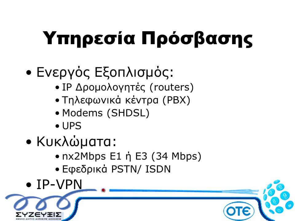 Υπηρεσία Πρόσβασης •Ενεργός Εξοπλισμός: •IP Δρομολογητές (routers) •Τηλεφωνικά κέντρα (PBX) •Modems (SHDSL) •UPS •Κυκλώματα: •nx2Mbps E1 ή Ε3 (34 Mbps
