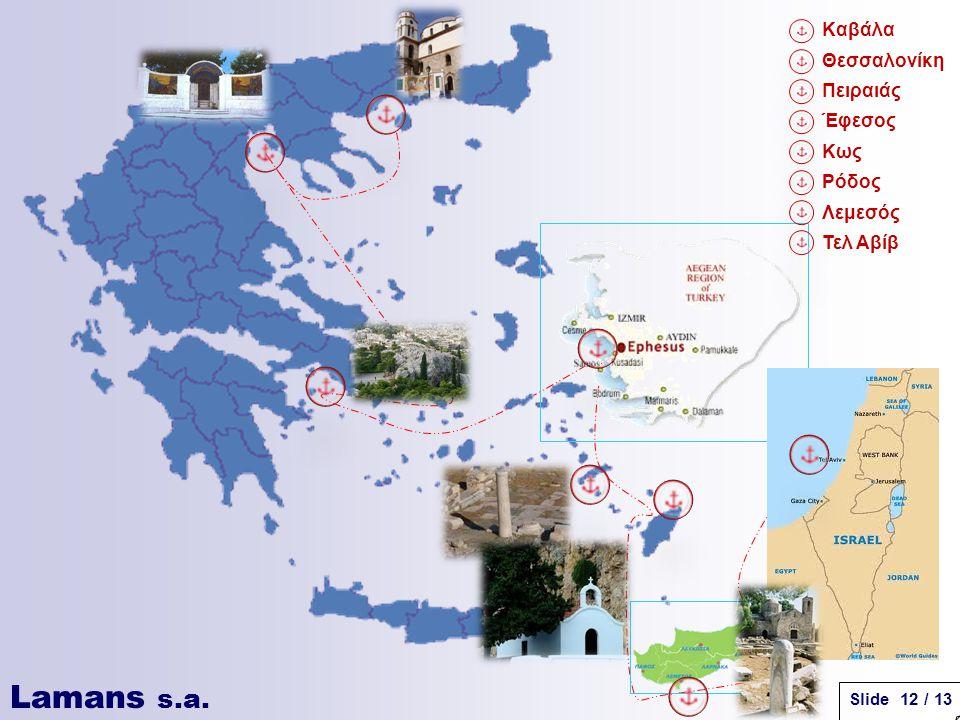 Lamans s.a. Slide 12 / 13 Καβάλα Θεσσαλονίκη Πειραιάς Έφεσος Κως Ρόδος Λεμεσός Τελ Αβίβ