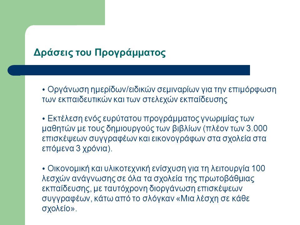 Δράσεις του Προγράμματος  Συνομιλία-συνάντηση συγγραφέων και μαθητών με τη χρήση νέων τεχνολογιών (skype κ.ά).