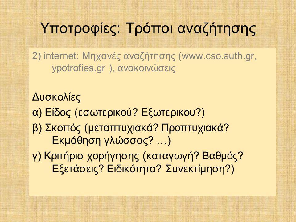 2) internet: Μηχανές αναζήτησης (www.cso.auth.gr, ypotrofies.gr ), ανακοινώσεις Δυσκολίες α) Είδος (εσωτερικού? Εξωτερικου?) β) Σκοπός (μεταπτυχιακά?