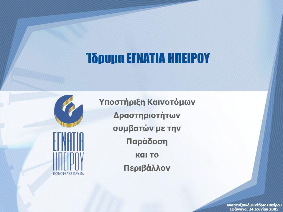 Αναπτυξιακό Συνέδριο Ηπείρου Ιωάννινα, 24 Ιουνίου 2005 Ίδρυμα ΕΓΝΑΤΙΑ ΗΠΕΙΡΟΥ Υποστήριξη Καινοτόμων Δραστηριοτήτων συμβατών με την Παράδοση και το Περιβάλλον