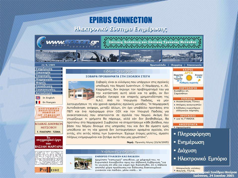 EPIRUS CONNECTION Ηλεκτρονικό Σύστημα Ενημέρωσης  Πληροφόρηση  Ενημέρωση  Διάχυση  Ηλεκτρονικό Εμπόριο  Πληροφόρηση  Ενημέρωση  Διάχυση  Ηλεκτρονικό Εμπόριο Αναπτυξιακό Συνέδριο Ηπείρου Ιωάννινα, 24 Ιουνίου 2005