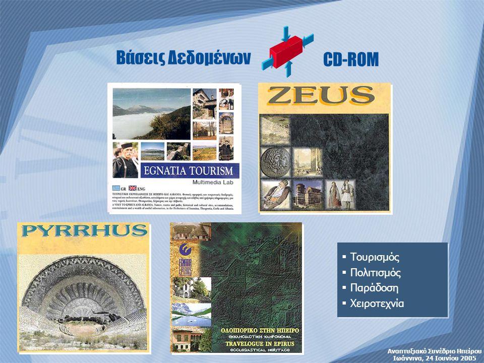 Ηπειρος: Τουρισμός-Πολιτισμός «το Παρόν» •Επιχειρησιακό Σχέδιο Τουριστικής Προβολής (ΓΓΠΗ) •Μελέτη Τουριστικής Ανάλυσης Περιφέρειας Ηπείρου 2002 (ΕΟΤ) •Τουριστική Πολιτική 2000-2006 •SWOT Analysis Στρατηγικού Σχεδίου Ανάπτυξης Ηπείρου 2007-13 •ΕΣΥΕ •Κοινοτικά Εγγραφα •Εμπειρία Πηγές: Αναπτυξιακό Συνέδριο Ηπείρου Ιωάννινα, 24 Ιουνίου 2005