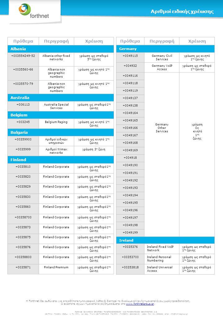 ΠρόθεμαΠεριγραφήΧρέωση Norway +004702 Norway Fixed Special Services χρέωση ως σταθερό 1 ης ζώνης +004703 +004704 +004705 +004706 +004707 +004708 +004709 +0047810 +0047815 Peru +005118 Peru Ruralχρέωση 3 η ζώνη +0051418 +0051428 +0051438 +0051448 +0051518 +0051528 +0051538 +0051548 +0051568 +0051618 +0051628 +0051638 +0051648 +0051658 +0051668 +0051678 +0051728 +0051738 +0051748 +0051768 +0051828 +0051838 +0051848 ΠρόθεμαΠεριγραφήΧρέωση Russia +007501 Russia Overlay NetworkΧρέωση 6 ης ζώνης +007502 +007503 +007505 Serbia +003811051 Serbia Orion χρέωση ως κινητό 1 ης ζώνης +0038111410 +0038111411 +0038111412 +0038111414 +003811341 +003811661 +003811739 +0038118310 +003812061 +0038121310 +003813161 +003813331 +00381342100 +003813621 South Africa +002710000 South Africa VANSχρέωση 3 η ζώνη +002710001 +002710003 +0027100040 +0027100041 +0027100042 +0027100043 +0027100044 +0027100070 +002710040 +002710050 +002710080 +0027101000 +0027101003 +0027101300 Forthnet ΕΛΛΗΝΙΚΗ ΕΤΑΙΡΕΙΑ ΤΗΛΕΠΙΚΟΙΝΩΝΙΩΝ ΚΑΙ ΤΗΛΕΜΑΤΙΚΩΝ ΕΦΑΡΜΟΓΩΝ Α.Ε.