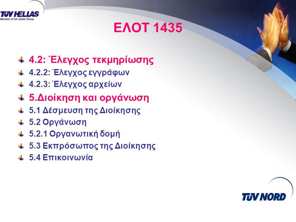 ΕΛΟΤ 1435 4.2: Έλεγχος τεκμηρίωσης 4.2.2: Έλεγχος εγγράφων 4.2.3: Έλεγχος αρχείων 5.Διοίκηση και οργάνωση 5.1 Δέσμευση της Διοίκησης 5.2 Οργάνωση 5.2.