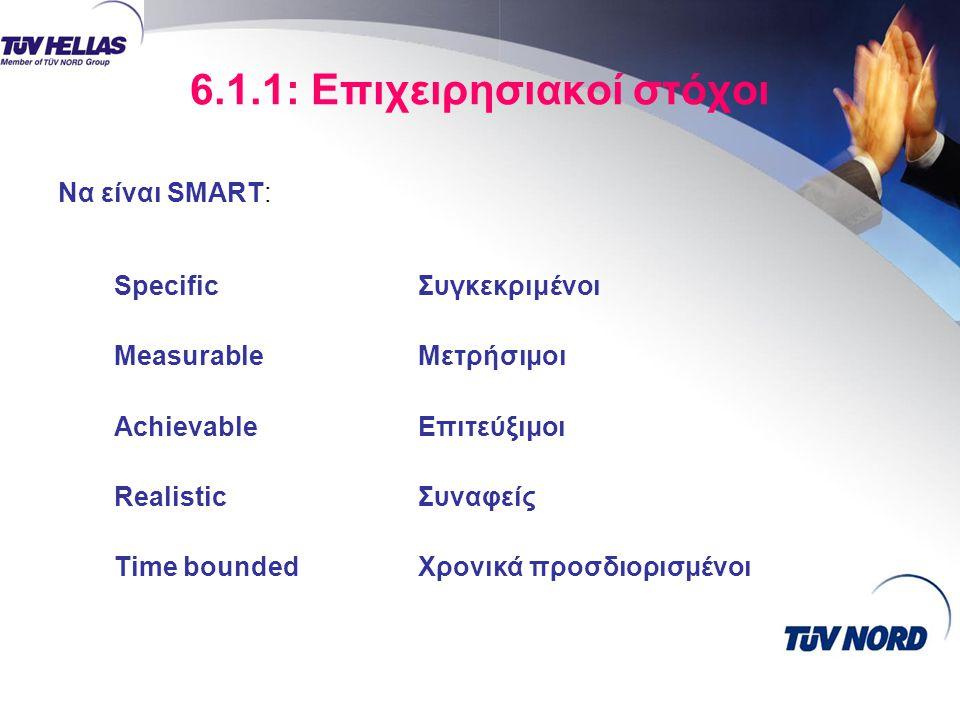 6.1.1: Επιχειρησιακοί στόχοι SpecificΣυγκεκριμένοι MeasurableΜετρήσιμοι AchievableΕπιτεύξιμοι RealisticΣυναφείς Time boundedΧρονικά προσδιορισμένοι Να είναι SMART: