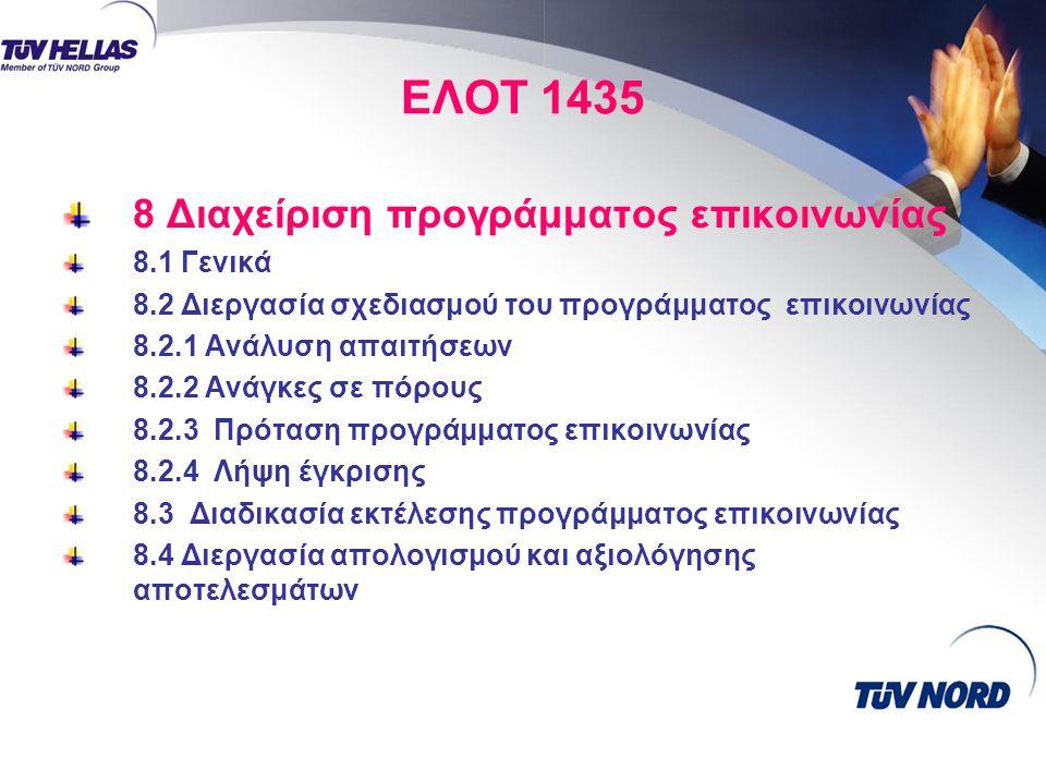 ΕΛΟΤ 1435 8 Διαχείριση προγράμματος επικοινωνίας 8.1 Γενικά 8.2 Διεργασία σχεδιασμού του προγράμματος επικοινωνίας 8.2.1 Ανάλυση απαιτήσεων 8.2.2 Ανάγκες σε πόρους 8.2.3 Πρόταση προγράμματος επικοινωνίας 8.2.4 Λήψη έγκρισης 8.3 Διαδικασία εκτέλεσης προγράμματος επικοινωνίας 8.4 Διεργασία απολογισμού και αξιολόγησης αποτελεσμάτων