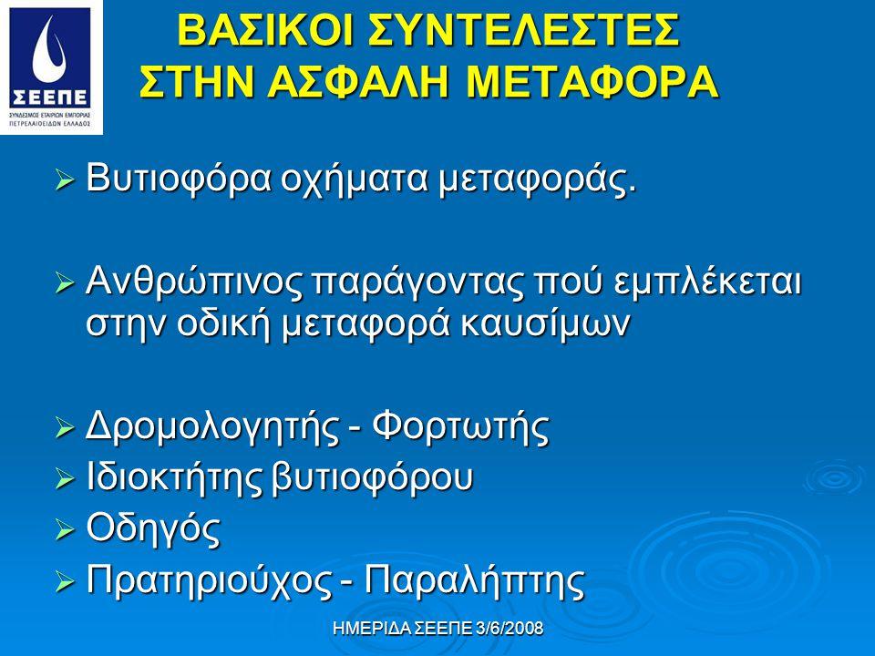 ΗΜΕΡΙΔΑ ΣΕΕΠΕ 3/6/2008 ΒΑΣΙΚΟΙ ΣΥΝΤΕΛΕΣΤΕΣ ΣΤΗΝ ΑΣΦΑΛΗ ΜΕΤΑΦΟΡΑ  Βυτιοφόρα οχήματα μεταφοράς.  Ανθρώπινος παράγοντας πού εμπλέκεται στην οδική μεταφ