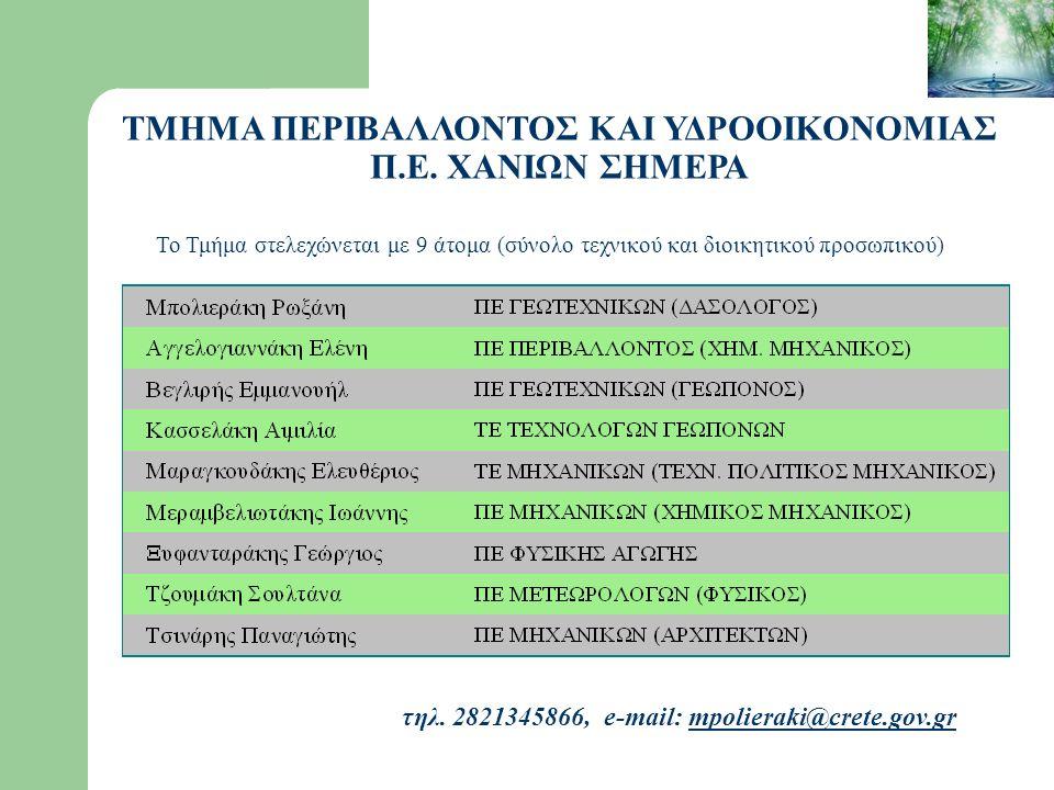 τηλ. 2821345866, e-mail: mpolieraki@crete.gov.grmpolieraki@crete.gov.gr Το Τμήμα στελεχώνεται με 9 άτομα (σύνολο τεχνικού και διοικητικού προσωπικού)
