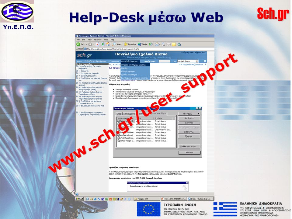 Υπ.Ε.Π.Θ.Sch.gr Help-Desk μέσω Web www.sch.gr/user_support