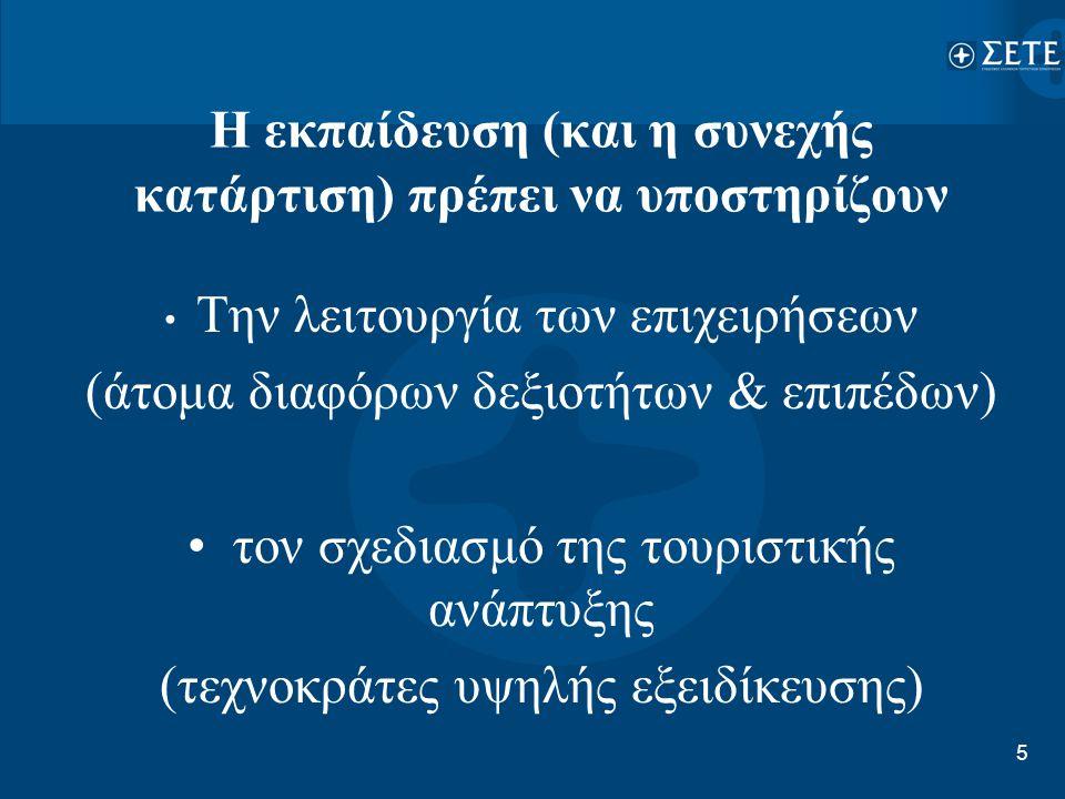 5 Η εκπαίδευση (και η συνεχής κατάρτιση) πρέπει να υποστηρίζουν • Την λειτουργία των επιχειρήσεων (άτομα διαφόρων δεξιοτήτων & επιπέδων) • τον σχεδιασ