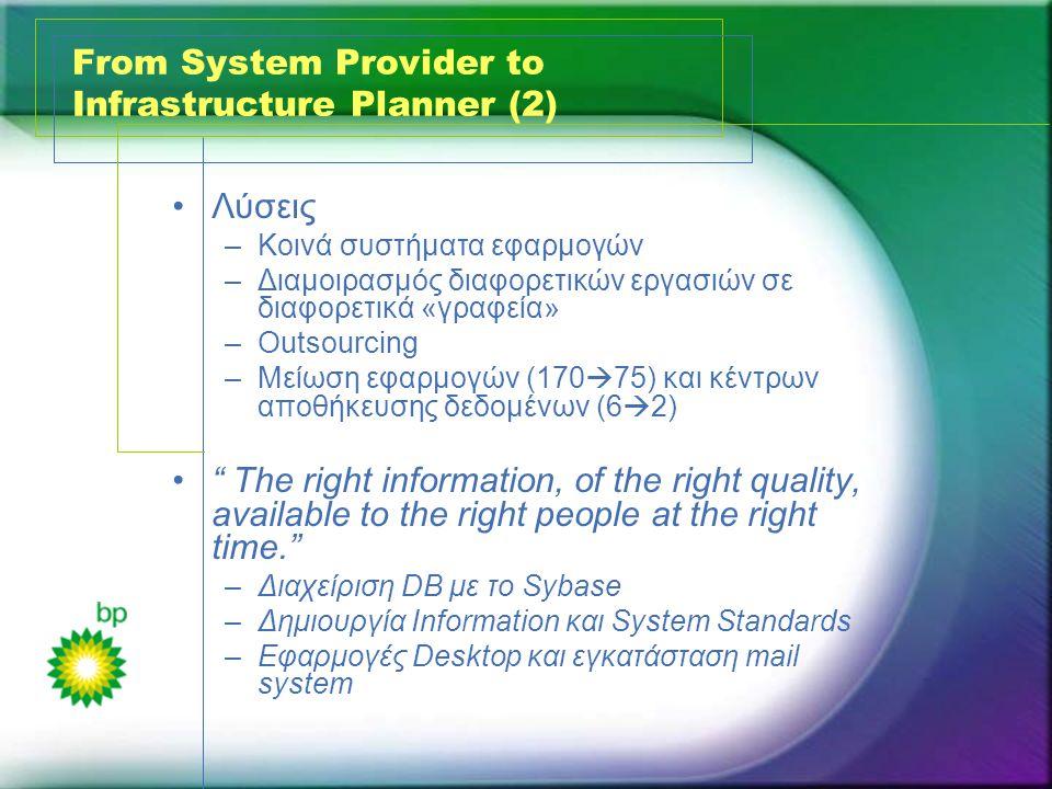 From System Provider to Infrastructure Planner (2) •Λύσεις –Κοινά συστήματα εφαρμογών –Διαμοιρασμός διαφορετικών εργασιών σε διαφορετικά «γραφεία» –Outsourcing –Μείωση εφαρμογών (170  75) και κέντρων αποθήκευσης δεδομένων (6  2) • The right information, of the right quality, available to the right people at the right time. –Διαχείριση DB με το Sybase –Δημιουργία Information και System Standards –Εφαρμογές Desktop και εγκατάσταση mail system