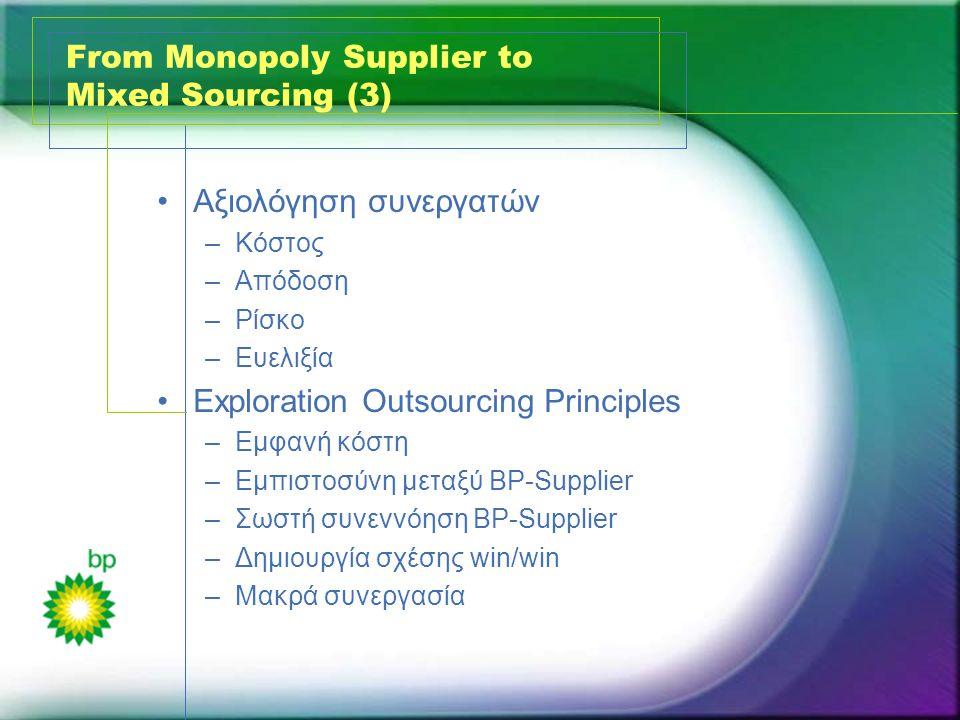 From Monopoly Supplier to Mixed Sourcing (3) •Αξιολόγηση συνεργατών –Κόστος –Απόδοση –Ρίσκο –Ευελιξία •Exploration Outsourcing Principles –Εμφανή κόστη –Εμπιστοσύνη μεταξύ BP-Supplier –Σωστή συνεννόηση BP-Supplier –Δημιουργία σχέσης win/win –Μακρά συνεργασία
