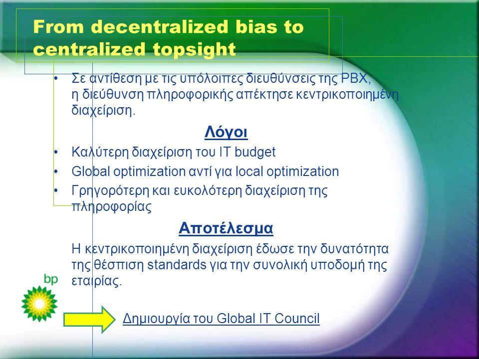 From decentralized bias to centralized topsight •Σε αντίθεση με τις υπόλοιπες διευθύνσεις της PBX, η διεύθυνση πληροφορικής απέκτησε κεντρικοποιημένη