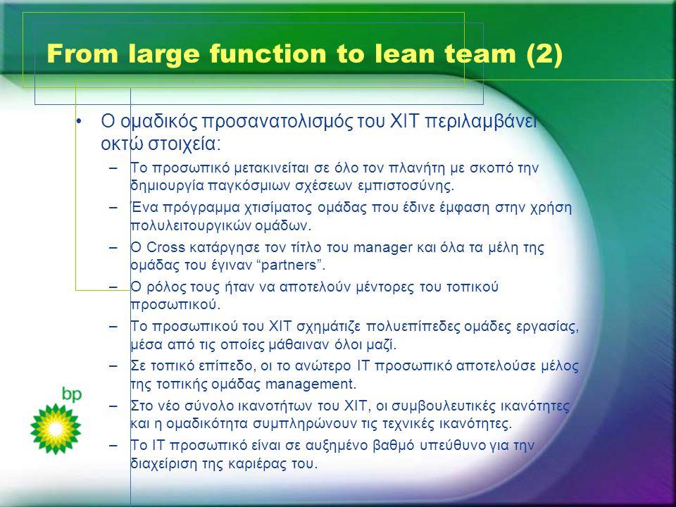 From large function to lean team (2) •Ο ομαδικός προσανατολισμός του XIT περιλαμβάνει οκτώ στοιχεία: –Το προσωπικό μετακινείται σε όλο τον πλανήτη με