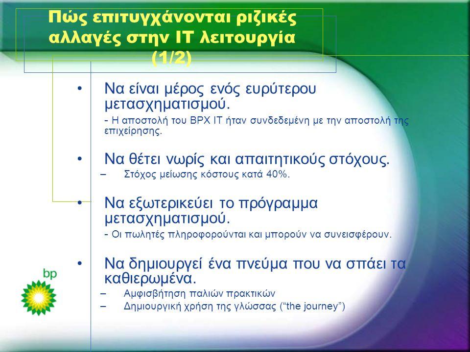 Πώς επιτυγχάνονται ριζικές αλλαγές στην ΙΤ λειτουργία (1/2) •Να είναι μέρος ενός ευρύτερου μετασχηματισμού. - Η αποστολή του BPX IT ήταν συνδεδεμένη μ