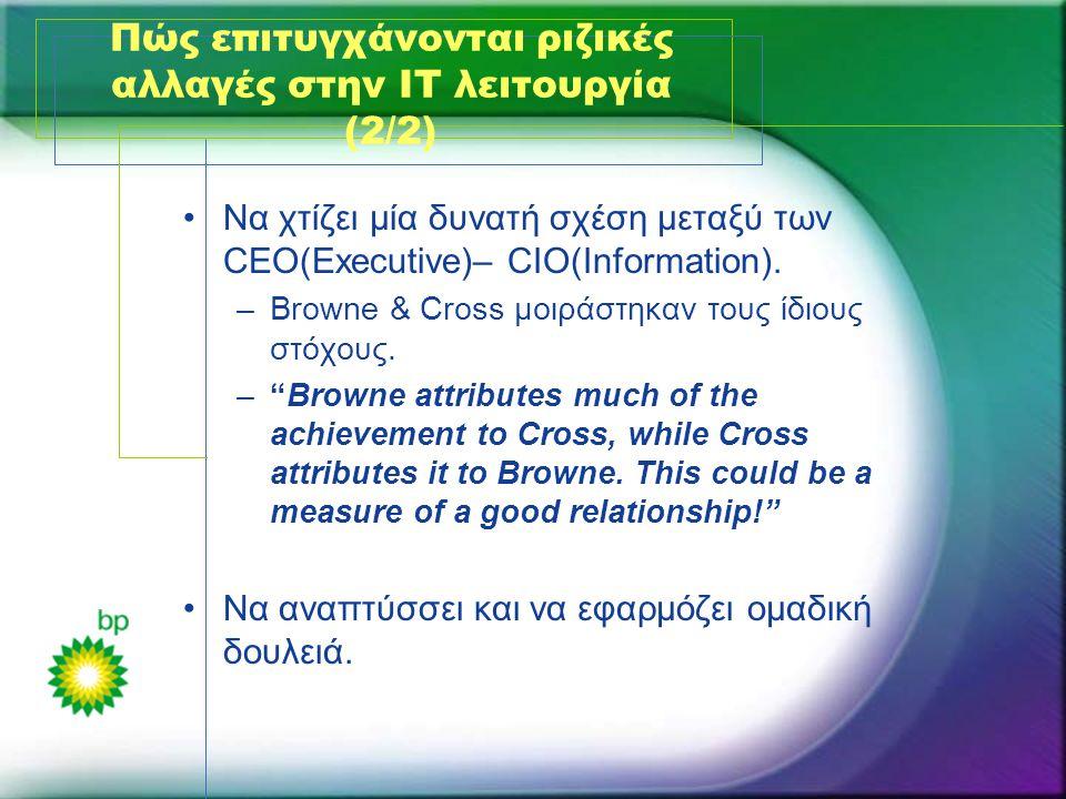 Πώς επιτυγχάνονται ριζικές αλλαγές στην ΙΤ λειτουργία (2/2) •Να χτίζει μία δυνατή σχέση μεταξύ των CEO(Executive)– CIO(Information). –Browne & Cross μ