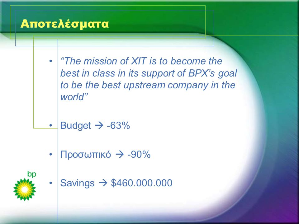 Αποτελέσματα • The mission of XIT is to become the best in class in its support of BPX's goal to be the best upstream company in the world •Budget  -63% •Προσωπικό  -90% •Savings  $460.000.000