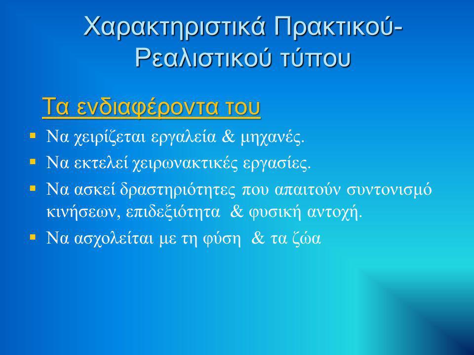 Χαρακτηριστικά Συμβατικού- Διεκπεραιωτικού τύπου Η προσωπικότητα του Η προσωπικότητα του   Οργανωτικός   Μεθοδικός   Υπομονετικός   Μετριοπαθής με συντηρητικό πνεύμα   Εξυπηρετικός   Αποτελεσματικός   Έμπιστος