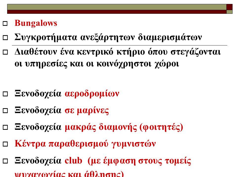  Bungalows  Συγκροτήματα ανεξάρτητων διαμερισμάτων  Διαθέτουν ένα κεντρικό κτήριο όπου στεγάζονται οι υπηρεσίες και οι κοινόχρηστοι χώροι  Ξενοδοχεία αεροδρομίων  Ξενοδοχεία σε μαρίνες  Ξενοδοχεία μακράς διαμονής (φοιτητές)  Κέντρα παραθερισμού γυμνιστών  Ξενοδοχεία club (με έμφαση στους τομείς ψυχαγωγίας και άθλησης)