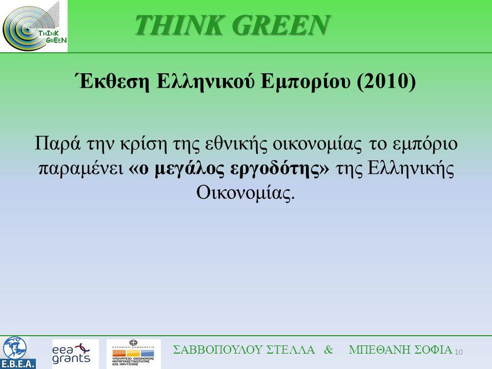 10 THINK GREEN Έκθεση Ελληνικού Εμπορίου (2010) Παρά την κρίση της εθνικής οικονομίας το εμπόριο παραμένει «ο μεγάλος εργοδότης» της Ελληνικής Οικονομ
