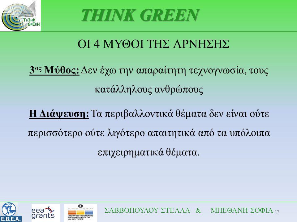 17 THINK GREEN 3 ος Μύθος: Δεν έχω την απαραίτητη τεχνογνωσία, τους κατάλληλους ανθρώπους Η Διάψευση: Τα περιβαλλοντικά θέματα δεν είναι ούτε περισσότ
