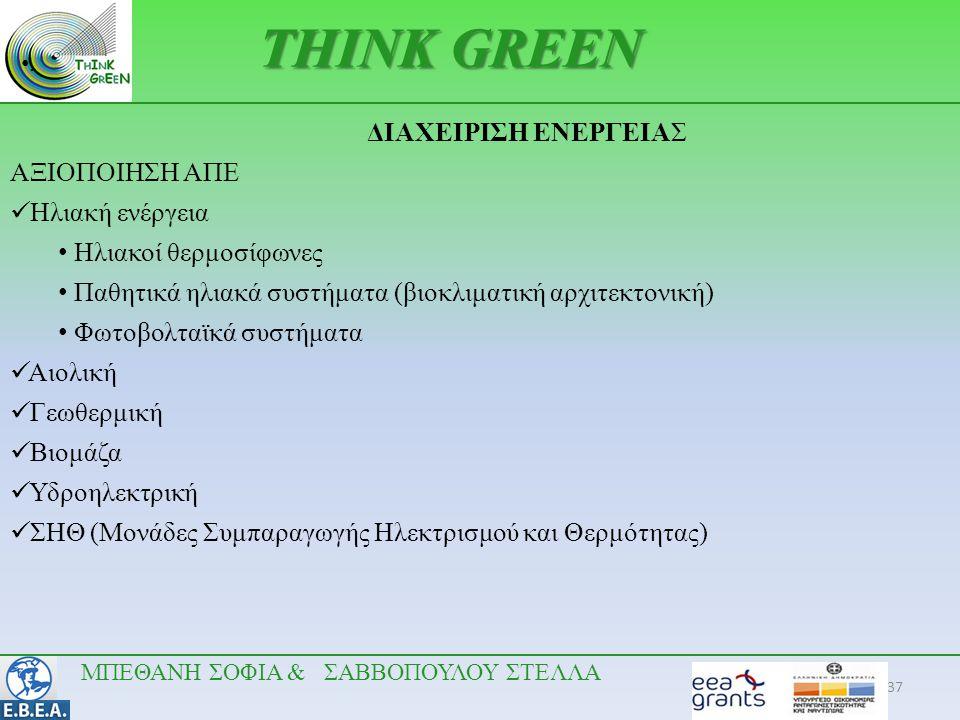 37 •.•. THINK GREEN ΔΙΑΧΕΙΡΙΣΗ ΕΝΕΡΓΕΙΑΣ ΑΞΙΟΠΟΙΗΣΗ ΑΠΕ  Ηλιακή ενέργεια • Ηλιακοί θερμοσίφωνες • Παθητικά ηλιακά συστήματα (βιοκλιματική αρχιτεκτονι
