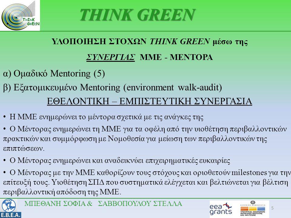 5 •.•. THINK GREEN ΥΛΟΠΟΙΗΣΗ ΣΤΟΧΩΝ THINK GREEN μέσω της ΣΥΝΕΡΓΙΑΣ ΜΜΕ - ΜΕΝΤΟΡΑ α) Ομαδικό Mentoring (5) β) Εξατομικευμένο Mentoring (environment wal