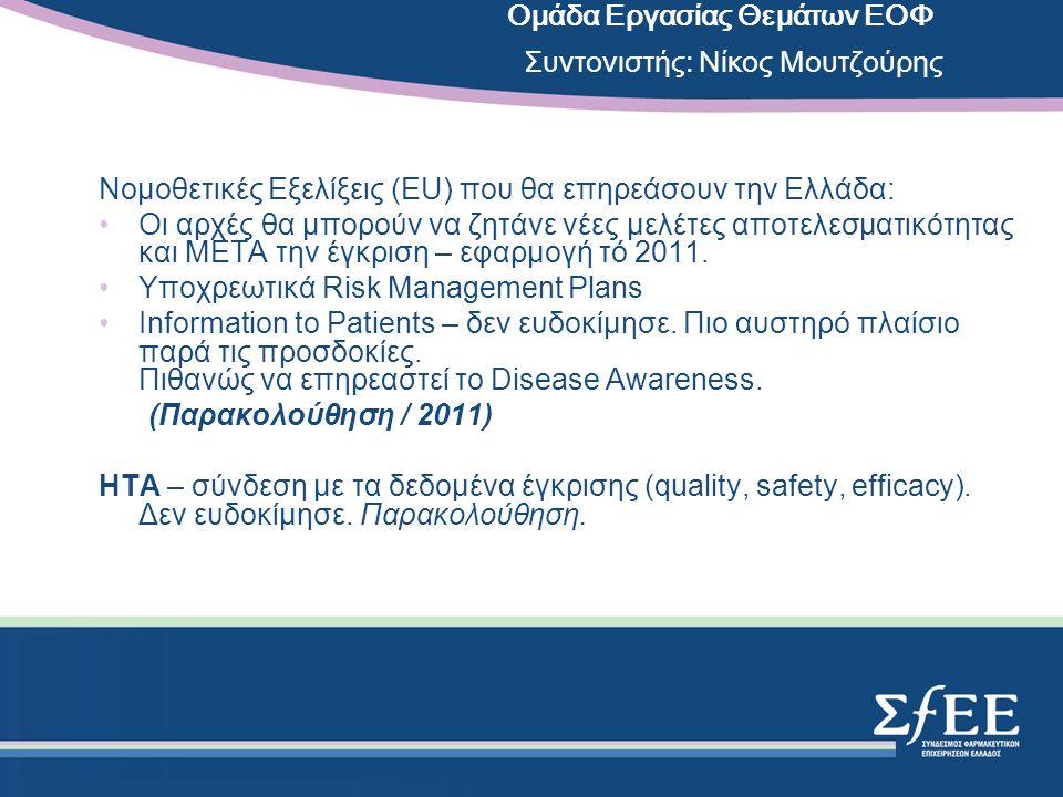Νομοθετικές Εξελίξεις (EU) που θα επηρεάσουν την Ελλάδα: •Οι αρχές θα μπορούν να ζητάνε νέες μελέτες αποτελεσματικότητας και ΜΕΤΑ την έγκριση – εφαρμογή τό 2011.