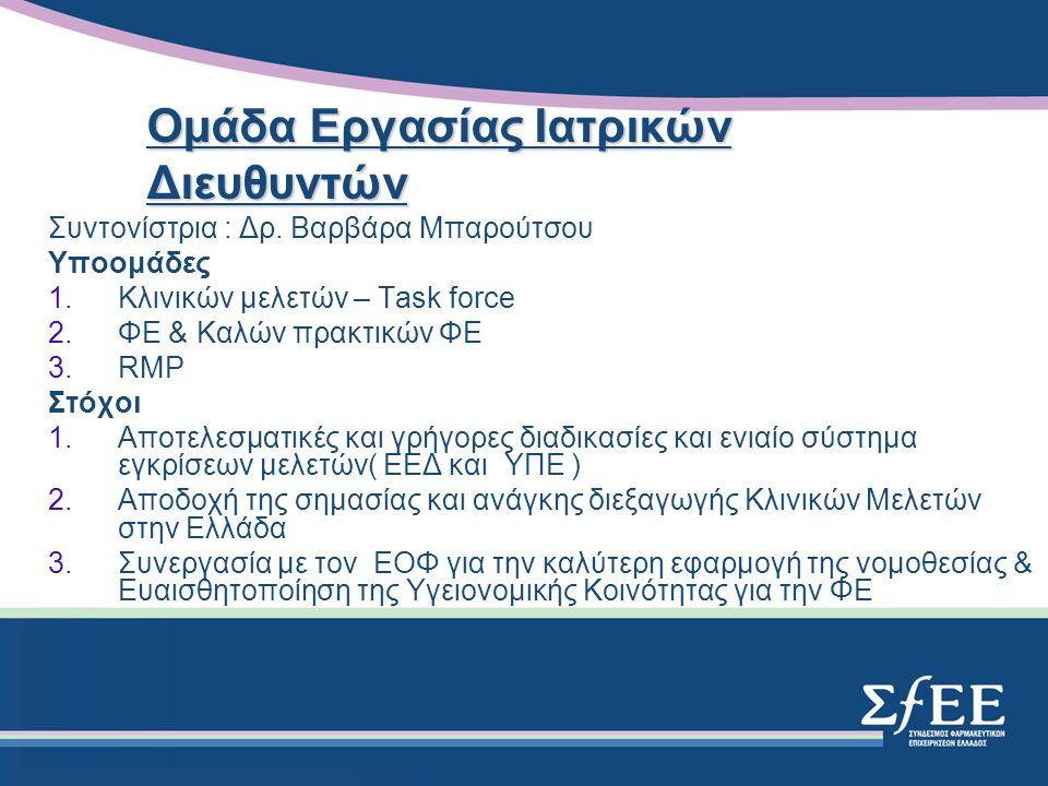1.Αρνητική Λίστα φαρμάκων –Ο ΕΟΦ έχει ετοιμάσει την αρνητική λίστα και την λίστα των ΜΗΣΥΦΑ 2.Φάρμακα για σοβαρές παθήσεις –Ολοκλήρωση της επικαιροποιημένης λίστας με την συμμετοχή των ορφανών φαρμάκων –Διατήρηση της αποζημίωσης στο 100% 3.Θεραπευτικά πρωτόκολλα –Επικοινωνία των θέσεων και παρατηρήσεων του ΣΦΕΕ Επιτροπή Θεμάτων Υπουργείου Υγείας Πρόεδρος: Κ.Καρέλλα