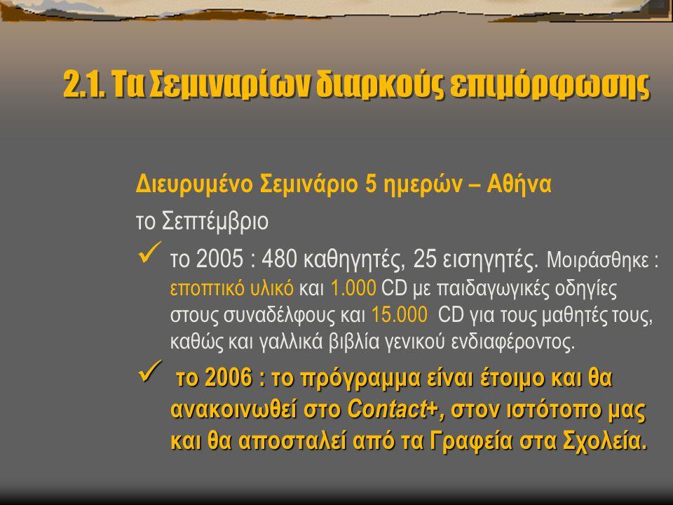 2.1. Τα Σεμιναρίων διαρκούς επιμόρφωσης Διευρυμένο Σεμινάριο 5 ημερών – Αθήνα το Σεπτέμβριο  το 2005 : 480 καθηγητές, 25 εισηγητές. Μοιράσθηκε : εποπ