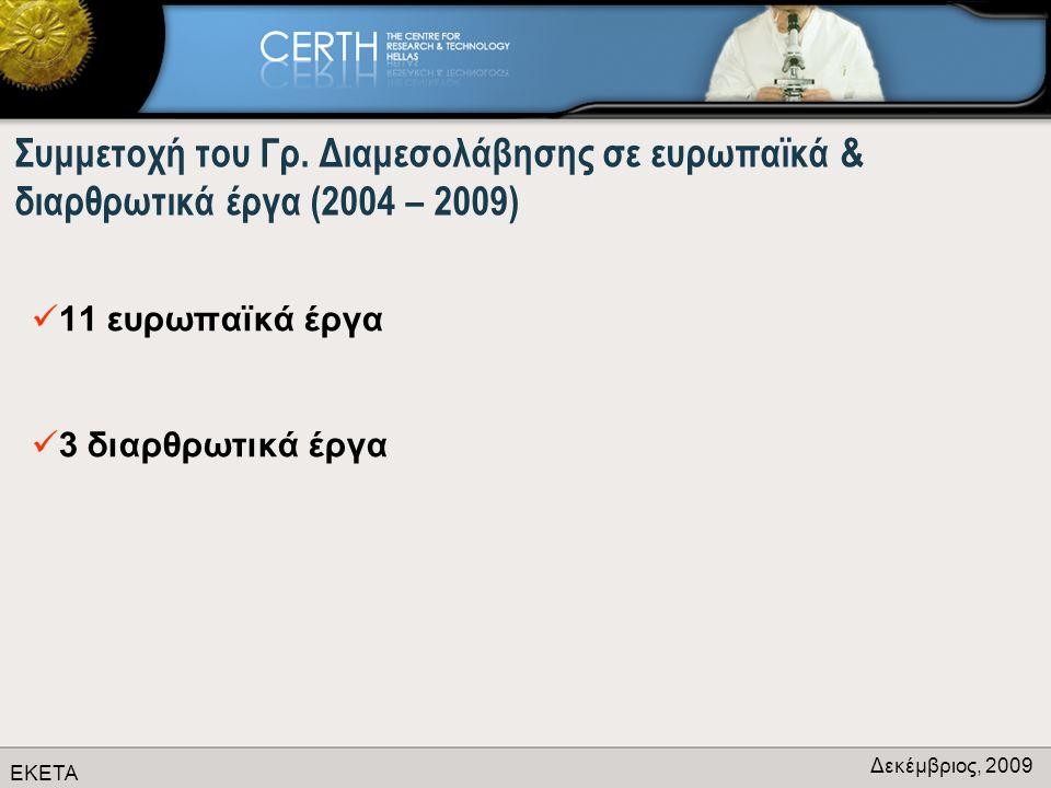 ΕΚΕΤΑ Δεκέμβριος, 2009 Συμμετοχή του Γρ.