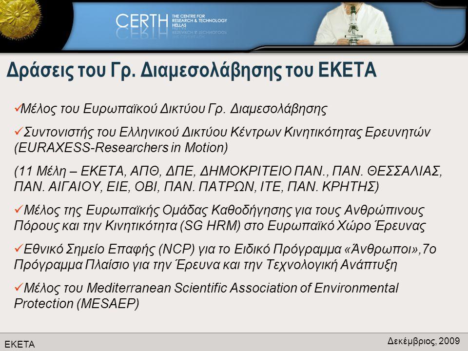 ΕΚΕΤΑ Δεκέμβριος, 2009 Δράσεις του Γρ. Διαμεσολάβησης του ΕΚΕΤΑ  Μέλος του Ευρωπαϊκού Δικτύου Γρ.