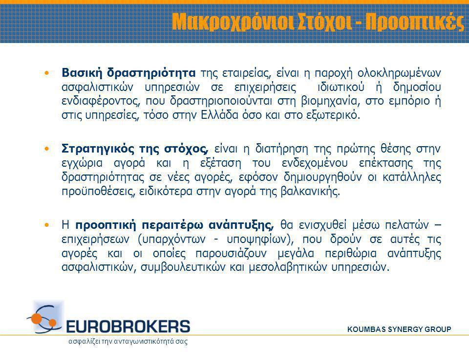 ασφαλίζει την ανταγωνιστικότητά σας KOUMBAS SYNERGY GROUP • •Βασική δραστηριότητα της εταιρείας, είναι η παροχή ολοκληρωμένων ασφαλιστικών υπηρεσιών σε επιχειρήσεις ιδιωτικού ή δημοσίου ενδιαφέροντος, που δραστηριοποιούνται στη βιομηχανία, στο εμπόριο ή στις υπηρεσίες, τόσο στην Ελλάδα όσο και στο εξωτερικό.