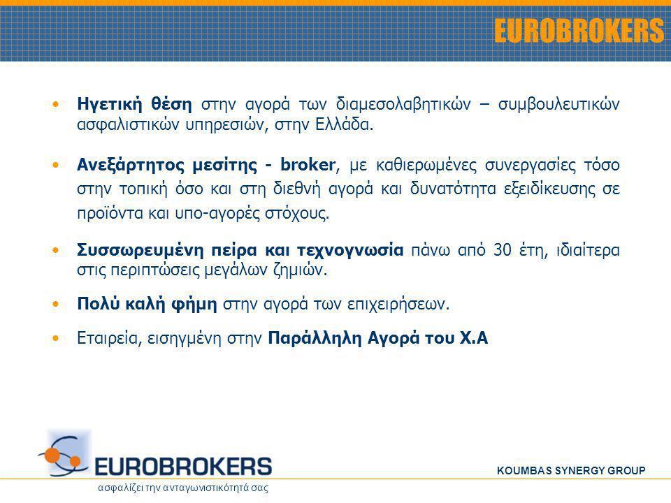 ασφαλίζει την ανταγωνιστικότητά σας KOUMBAS SYNERGY GROUP EUROBROKERS • •Ηγετική θέση στην αγορά των διαμεσολαβητικών – συμβουλευτικών ασφαλιστικών υπ